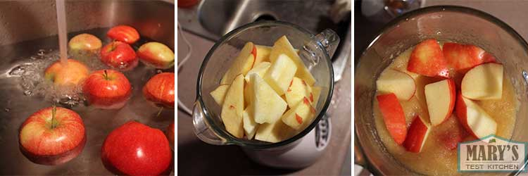 Prepare apples for juicing: wash, cut, puree.