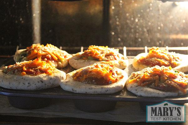vegan deep dish pizza made in muffin tins