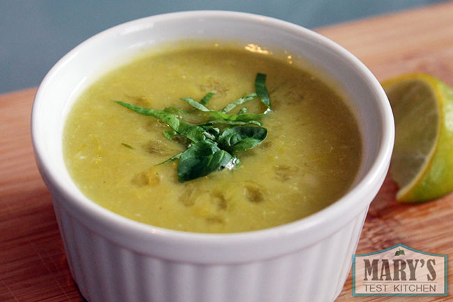 cream of leek soup with basil garnish and lime juice