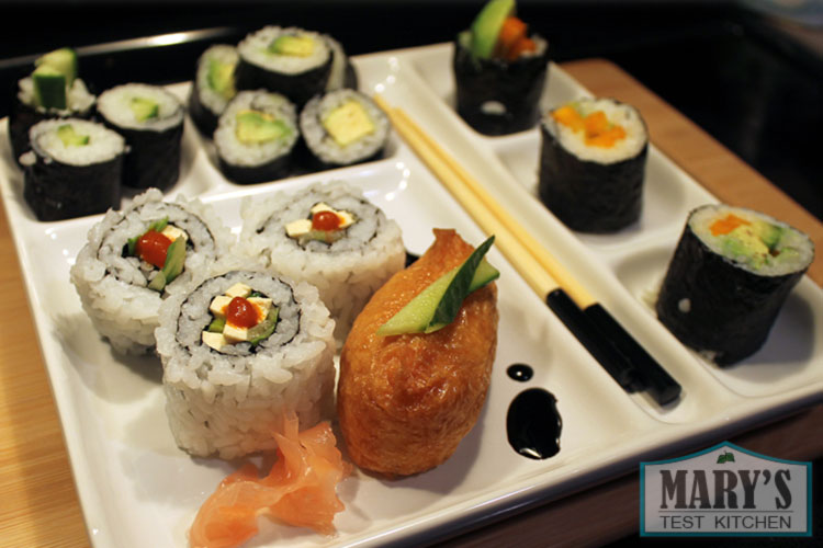 vegan vegetable sushi rolls and inari