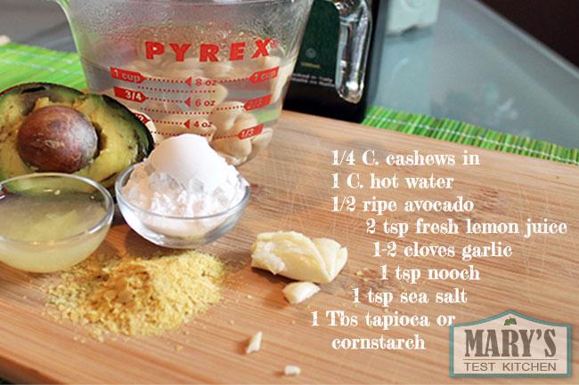 vegan avocado alfredo sauce ingredients