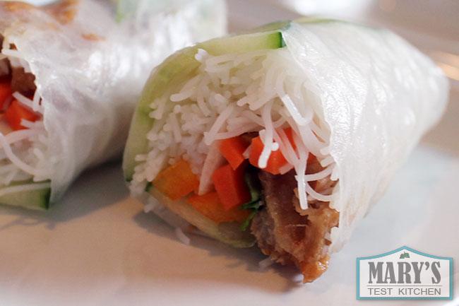 vegan Vietnamese salad rolls cut open