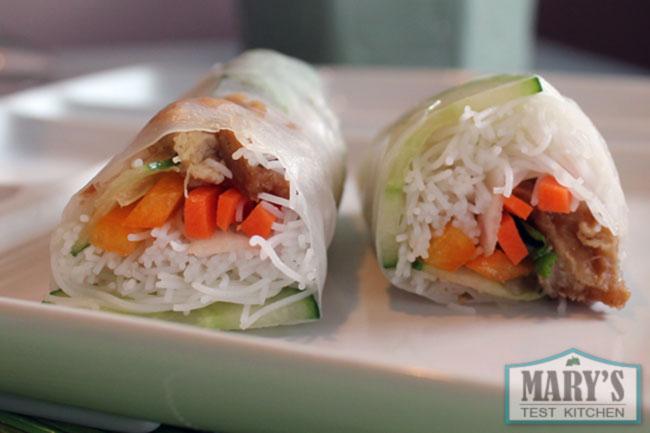 vietnamese salad rolls with faux chicken