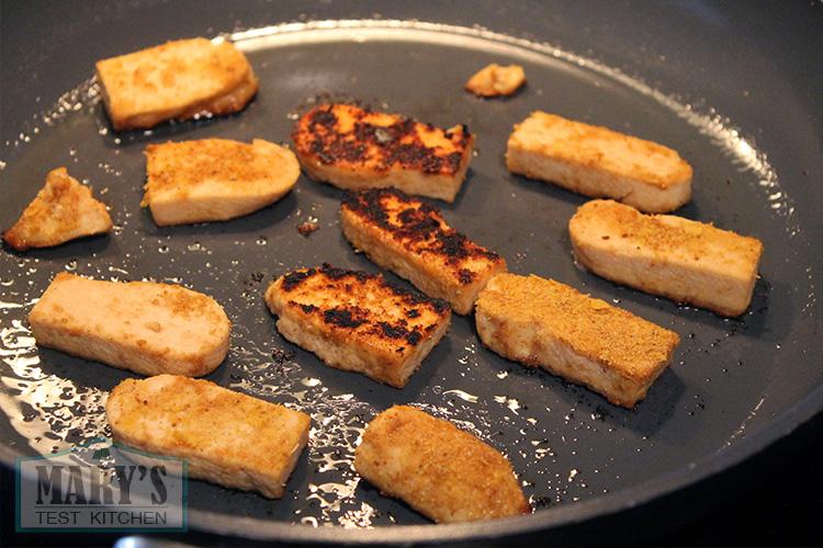 tofu pieces pan frying