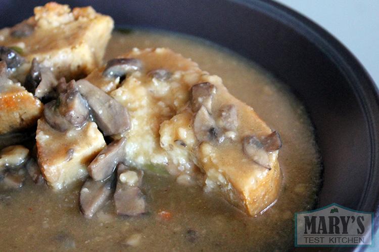 stuffed seitan slices with mushroom gravy