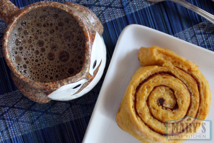 vegan pumpkin roll and coffee
