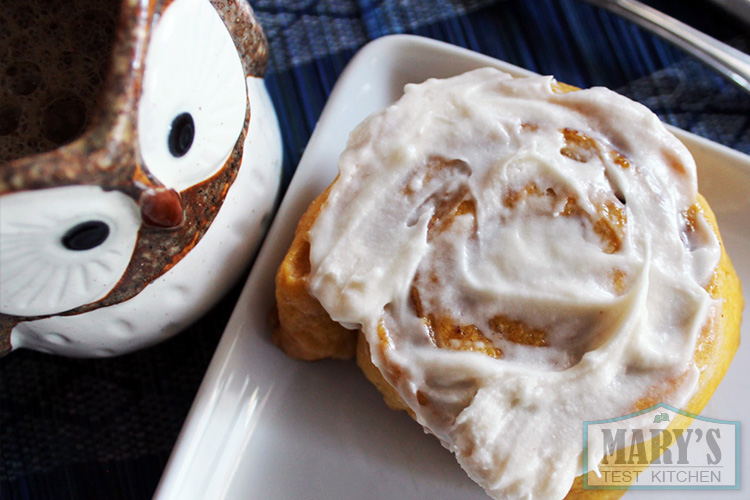 pumpkin cinnamon bun with cream cheese iciing