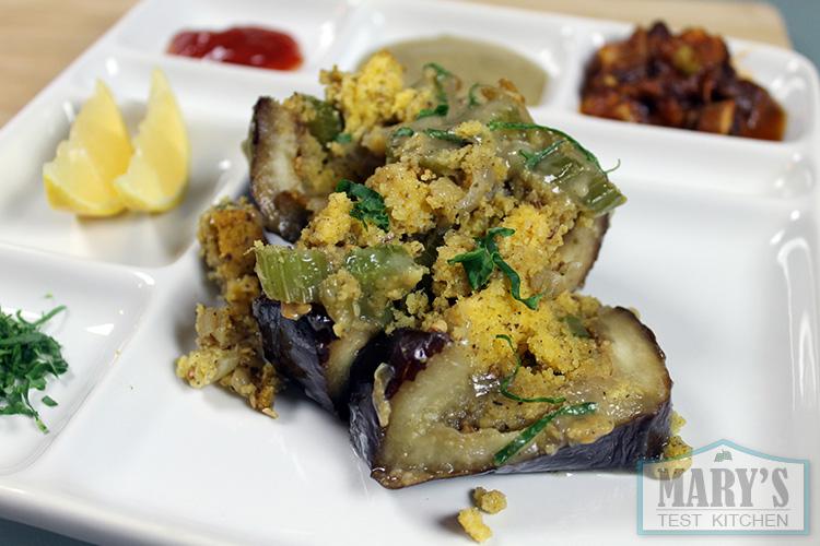 roasted-eggplant-cornbread-stuffing-gravy-plated