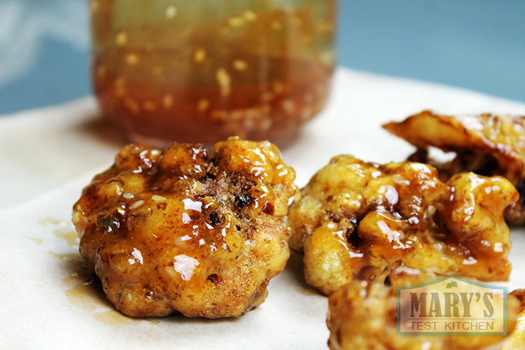 Vegan Beer-Battered Cauliflower tossed with Vegan Honey Garlic Sesame Sauce