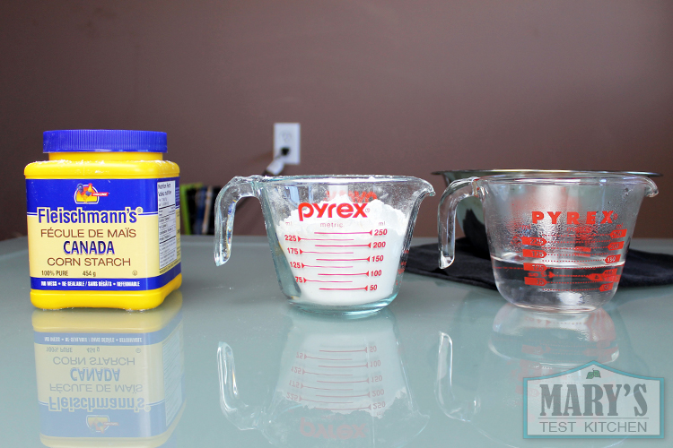 The ingredients: water, flour and cornstarch.