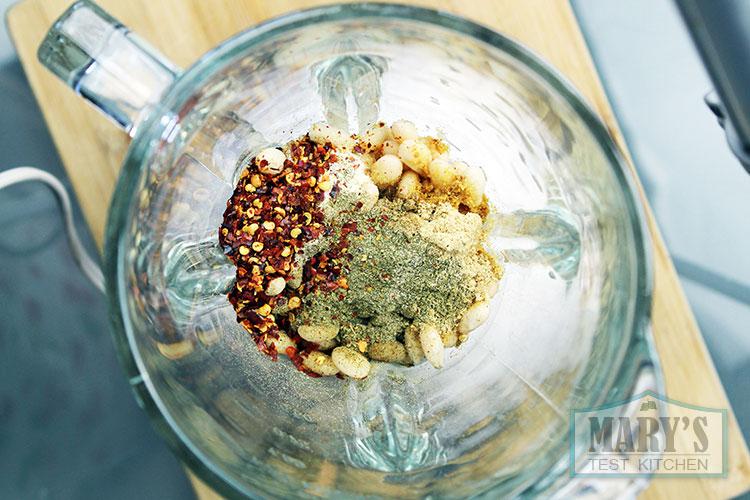 spicy beet seitan ingredients in blender