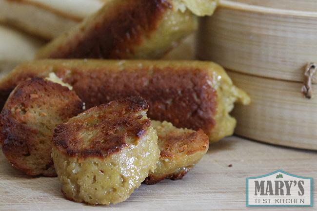 lightly fried vegan hot dogs