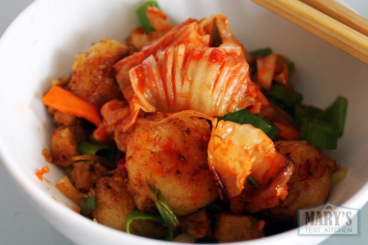 Vegan kimchi and rice cake stir fry.