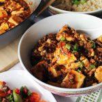 vegan mapo tofu in Chinese style bowl