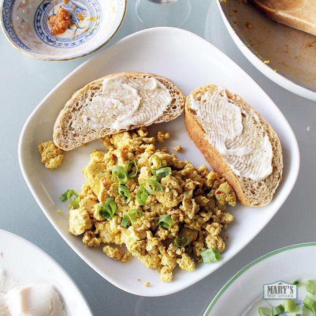 yellow silken tofu scramble