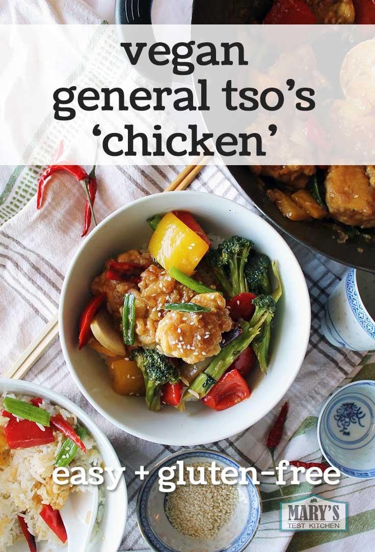 Vegan General Tso's Chicken on rice