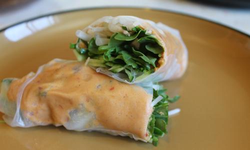 Vietnamese-inspired Spicy Peanut Salad Rolls