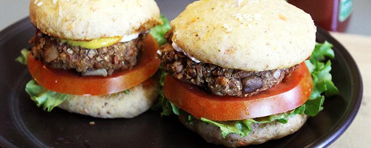 Easy Vegan Burgers with Mushrooms & Lentils